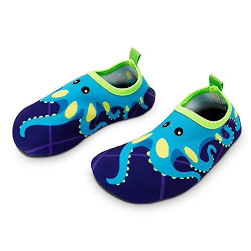 Bigib Toddler Kids Swim Water Shoes Quick Dry Non-Slip Water Skin Barefoot Sports Shoes Aqua Socks for Boys Girls Toddler, Blue Octopus, 8 Toddler