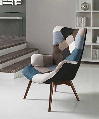 Mocada Vilma Poltrona in Tessuto Patchwork Design Gamba Legno ...