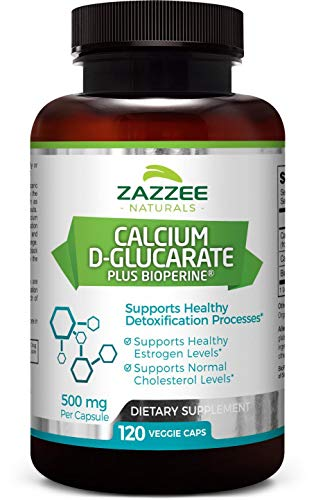 Levels Estrogen - Calcium D-Glucarate 120 Veggie Caps 500 mg | Plus 5 mg BioPerine for Enhanced Absorption | All-Natural, Vegan, and Non-GMO | Supports Healthy Detoxification and Healthy Estrogen Levels