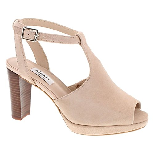 CLARKS Women's Kendra Charm Peep Toe Ankle Strap Sandal,Nude Suede,10