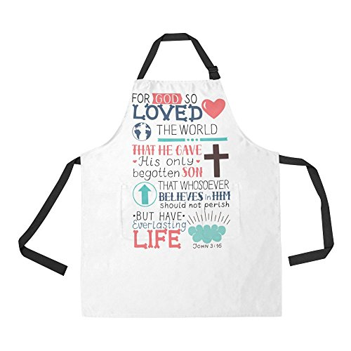 InterestPrint Christian Bible Verse John 3:16 For God So Loved The World Home Kitchen Apron for Women Men with Pockets, Unisex Adjustable Bib Apron for Cooking Baking Gardening, Large Size