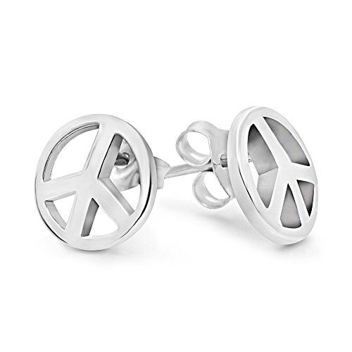 925 Sterling Silver Peace Sign Stud Earrings (9 mm)