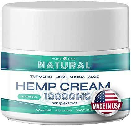 Organic Hemp Pain Reliever, 10000 Mg, Non-GMO, Natural Hemp Extract for Joint, Muscle, Back, Neck, Knee Pain, Made in USA
