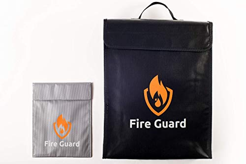 20% Off Fireproof Document Safe Bag Set Waterproof Document Holder for Home Non-Itch Silicon Covered Large Bag 15x11.5x3.5 Inches with Smaller Fiberglass Bag 9x7. Fireproof Bag for Document