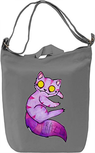 Crazy Cat Borsa Giornaliera Canvas Canvas Day Bag| 100% Premium Cotton Canvas| DTG Printing|