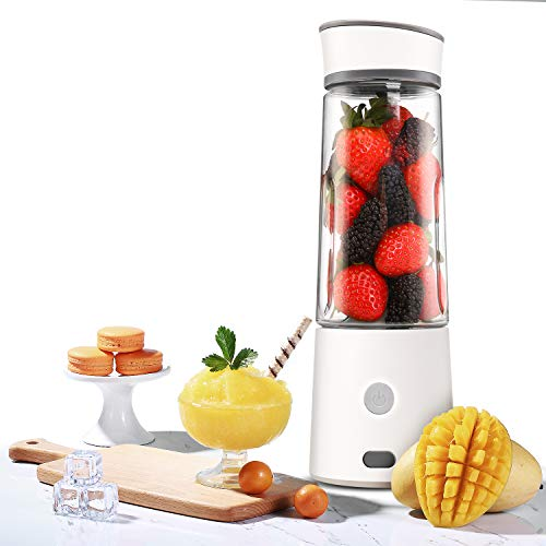 Portable Blender, Kacsoo Macaron M610 Mini Blender Personal Smoothie Fruit Mixer Juicer Cup, Single Serve, Multifunctional Lightweight USB Rechargeable Travel Blender for Shakes and Smoothies, with 5200 mAh Rechargeable Battery, FDA BPA Free (White) ()