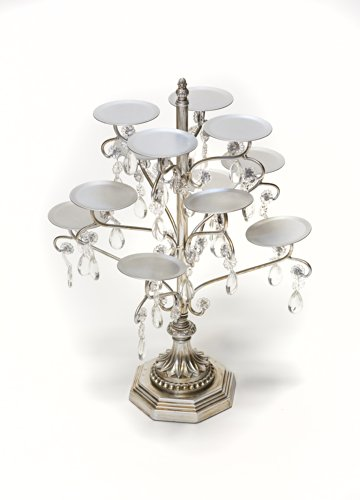 Opulent Treasures Chandelier 12 Piece Cupcake / Candle / Cake Pop / Mini Desserts Decorative Display Holder Metal Stand (Antique Silver ) by Opulent Treasures