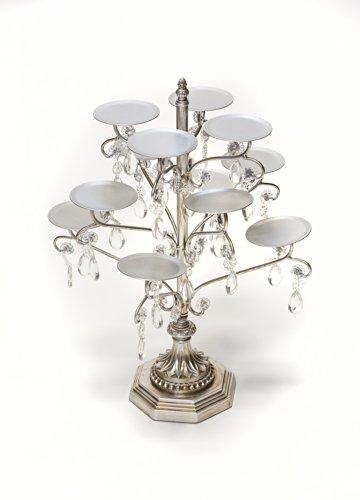 Opulent Treasures Chandelier 12 Piece Cupcake / Candle / Cake Pop / Mini Desserts Decorative Display Holder Metal Stand (Antique Silver ) -