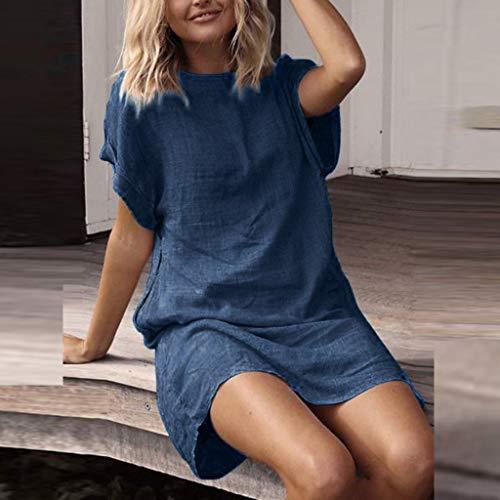 Konxxtt Womens Dress Summer Casual Solid Short Sleeve Dress O Neck Linen Mini Dress