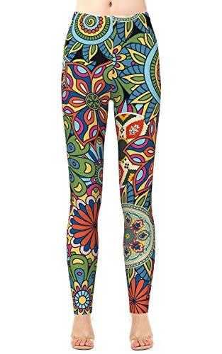 - Alaroo Ladies Patterned Graphic Trousers Flare Brushed Skinny Shaping Bohemian Leggings Plus Size