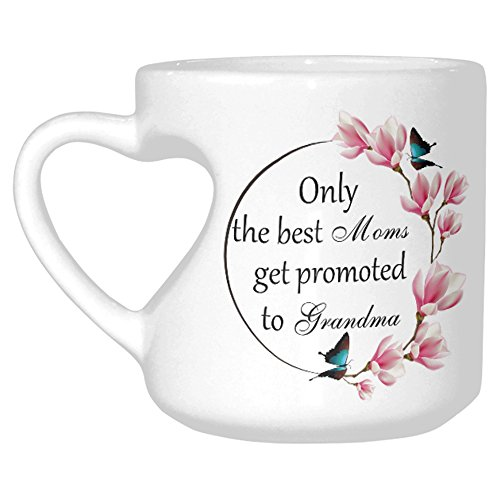InterestPrint White Ceramic Only The Best Moms Get Promoted To Grandma Mothers Day Best Mom Butterfly Floral Flower Heart-shaped Travel Coffee Mug Cup with Sayings, Best Friends Funny Birthday - Mug Heart Travel