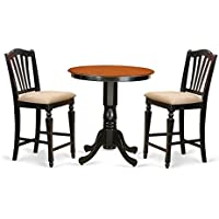 East West Furniture EDCH3-BLK-C 3 Piece Counter Height Table and 2 Chairs Set