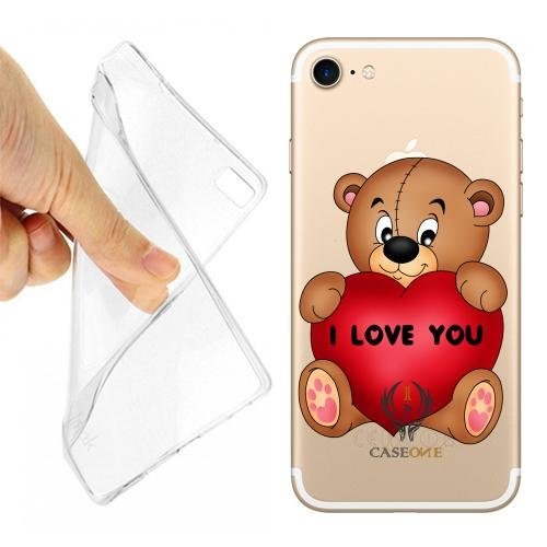 Caseone linea top CUSTODIA COVER CASE TEDDY LOVE PER IPHONE 7 TRASPARENTE