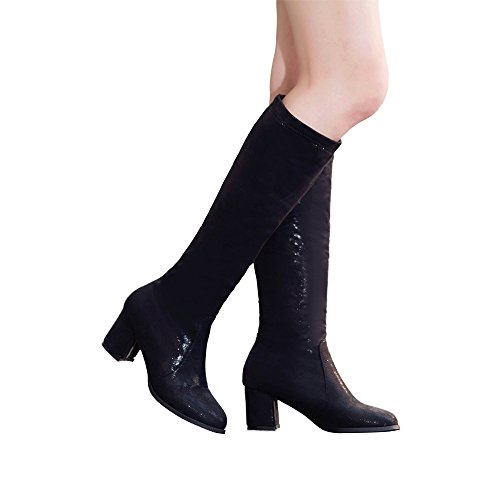 Suede Boots Wide Faux Toe Black Boots High Womens Round Chunky Knee Riding DOTACOKO Calf Heels w1O7xxq