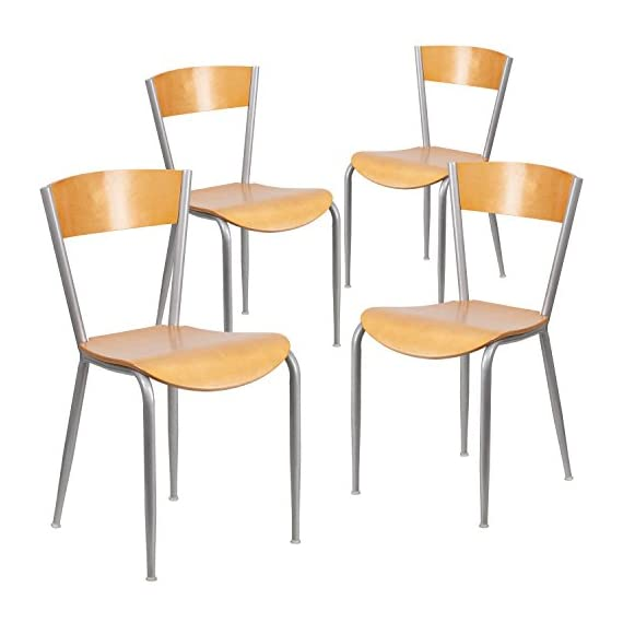 Flash Furniture 4 Pk. Invincible Series Silver Metal Restaurant Chair - Natural Wood Back & Seat - Metal Chair 500 lb. Weight Capacity Solid Wood Back - kitchen-dining-room-furniture, kitchen-dining-room, kitchen-dining-room-chairs - 41tqwwMeyML. SS570  -