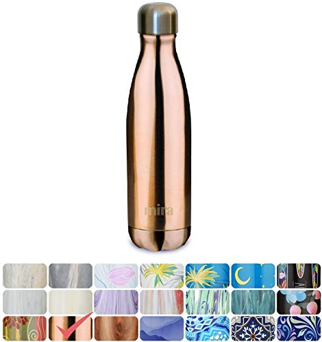 Custom Water Bottles - MIRA Vacuum Insulated Travel Water Bottle | Leak-proof Double Walled Stainless Steel Cola Shape Portable Water Bottle | No Sweating, Keeps Your Drink Hot & Cold | 17 Oz (500 ml) | Rose Gold