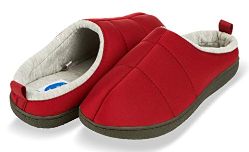Floopi Slippers for Women Jersey Clog| Indoor-Outdoor Mule Home Shoes | Hard Rubber, Anti-Slip Soles & Super Soft Memory Foam Interior| Comfortable Warm All-Season Bedroom Slippers (XL, Red-316)