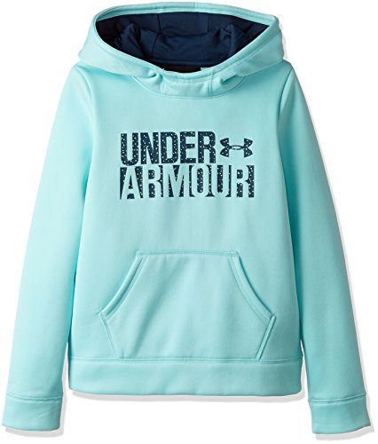 Under Armour Girls Armour Fleece Wordmark Hoodie, Blue Infinity/Blue, X-Large/18-20 Big Kids by Under Armour (Image #1)
