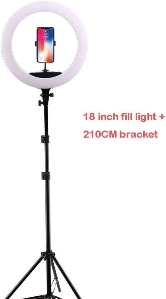 SUYIDAN Ring Light 18in LED Floor Ring Light with Tripod Middle Hose Phone Holder Fill Light Hot Shoe Mouth Interface Live Lamp Ringlight Color : B, Size : 160cm