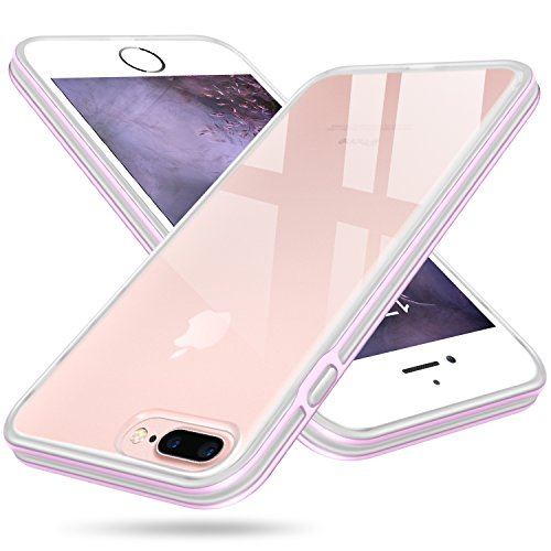 iPhone 7 Plus Case, Clear iPhone 8 Plus Case, Salawat Shockproof iPhone 7 Plus Case Cover Soft Slim Defender Case Impact Resistant Colorful Bumper Protective Case for Apple iPhone 7/8 Plus (Purple)