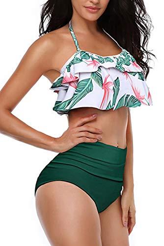 Women High Waisted Swimsuit Flounce Swimwear Racerback Vintage Two Piece Bikini (Green,L)