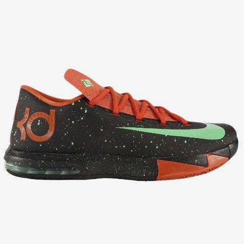 Nike Mens KD VI Black/Green glow-urban orange 599424-002 11.5 by NIKE