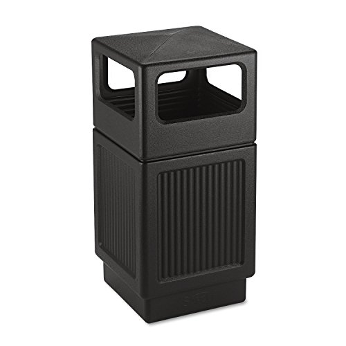 Safco 9476BL Canmeleon Side-Open Receptacle Square Polyethylene 38gal Textured Black