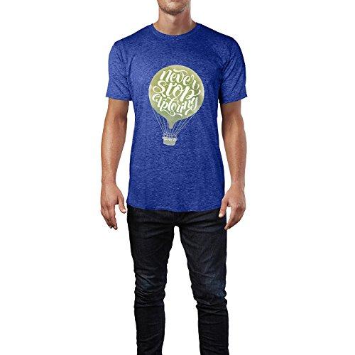 SINUS ART® Never Stop Exploring Kalligraphie mit Heißluftballon Herren T-Shirts in Vintage Blau Cooles Fun Shirt mit tollen Aufdruck