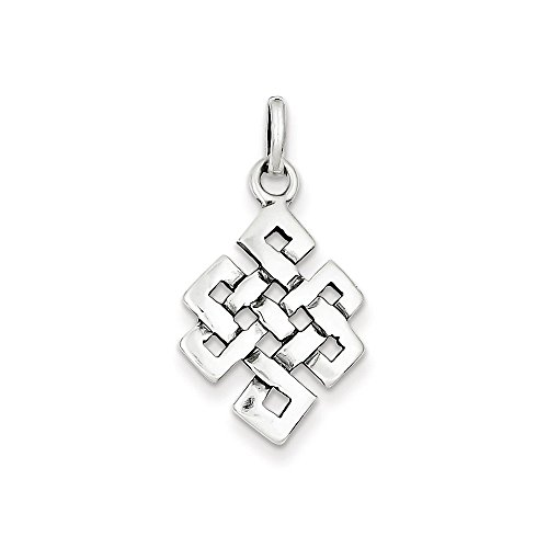 .925 Sterling Silver Antiqued Square Celtic Knot Charm Pendant