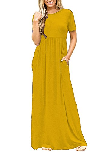 DEARCASE Women's Short Sleeve Long Maxi Fall Casual Dresses Yellow XX-Large