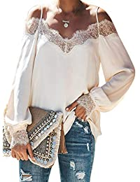 Women's Lace V Neck Strappy Cold Shoulder Long Sleeve Shirts Casual Loose Blouses Tops
