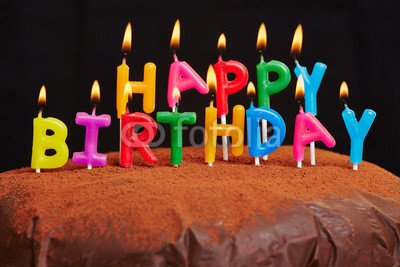 Happy Birthday Candles Burn On Cake 81804612 Poster 120 X 80 Cm