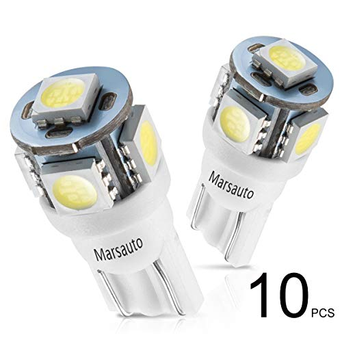 - Marsauto 194 LED Light Bulb 6000K 168 T10 2825 5SMD LED Replacement Bulbs for Car Dome Map Door Courtesy License Plate Lights (Pack of 10)