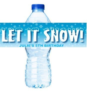 (Snowflakes Frozen Ice Personalized Birthday Party Decorations - Water Bottle Labels)