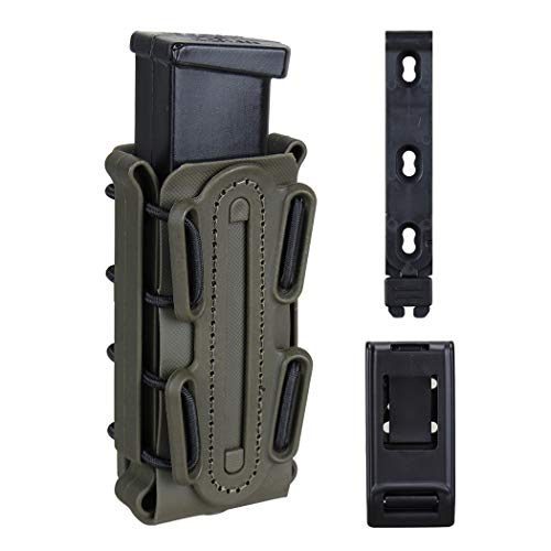 (IDOGEAR 9mm Pistol Magazine Pouch Tactical Fastmag Soft Shell Mag Carrier Hunting Airsoft Gear (Ranger Green))