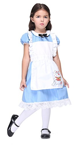 Girlscos Girl's Princess Alice In Wonderland Dress Kids Halloween Cosplay Costumes Medium Blue (Halloween Costum Ideas)