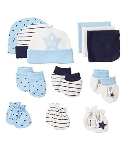 BornCare 12 Piece Baby Gift Set, Blue, Baby Boy Girl Shower Gift Set 3 pairs each beanies, washcloths, booties, mittens , 0 – 6 Months