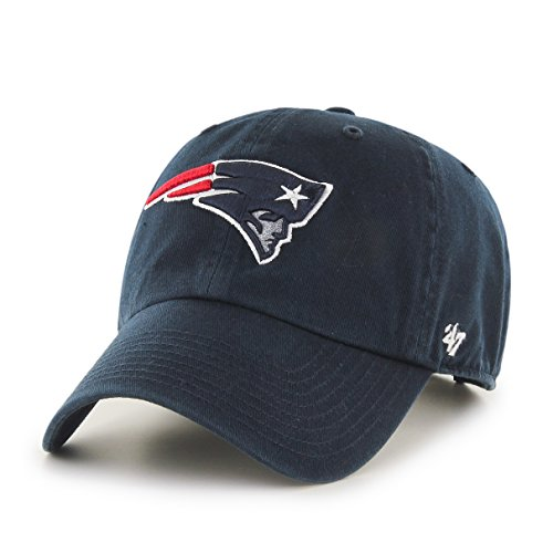 1 Fit New Hat Cap - NFL New England Patriots '47 Clean Up Adjustable Hat, Navy, One Size