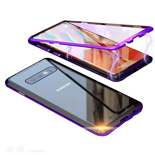 - Compatible Galaxy S10 Plus Case, HONTECH Slim Magnetic Adsorption Metal Frame with Built-in Magnet Flip Clear Tempered Glass Cover with a Screen Protector, Black-Purple