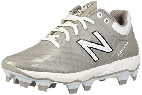 New Balance Men's 4040v5 Molded Baseball Shoe, Grey/White, 10.5 2E US