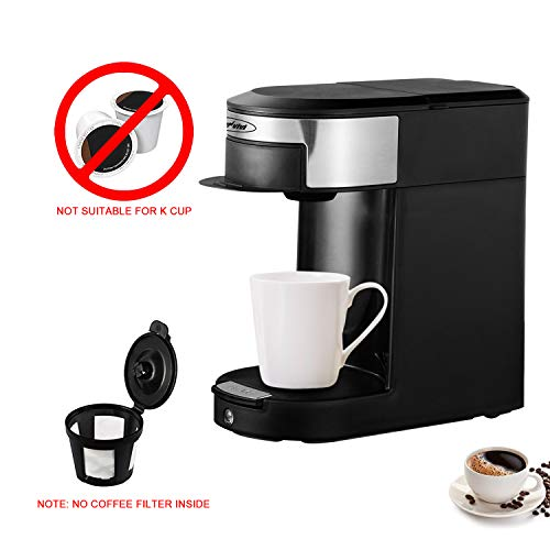 SUNVIVI OUTDOOR Single Serve Coffee Pod Brewer, 1 Cup Hospitality Coffeemaker, One-touch Control Button with Illumination, Black/Silver