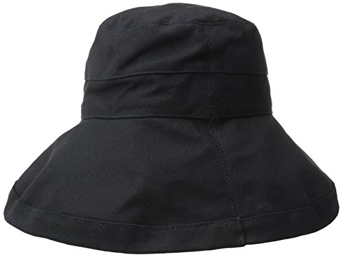 Scala Women's Cotton Hat With Inner Drawstring and UPF 50+ Rating,Black Canvas,One Size (Hat Scala Canvas)