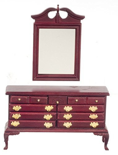 Dollhouse Miniature Traditional Working Dresser with Mirror in Mahogany by Handley House