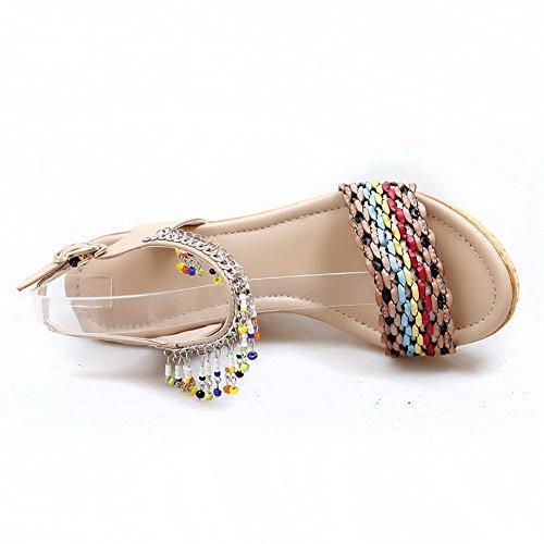 Amoonyfashion Donna Materiale Morbido Open Toe Fibbia Tacchi Alti Sandali Di Colore Assortiti Albicocca