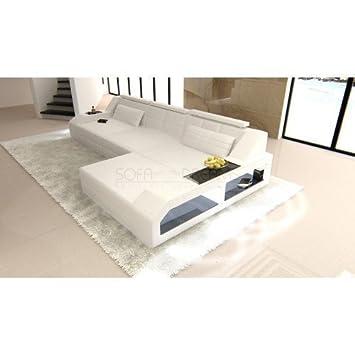 Canape En Cuir Arezzo L Forme Blanc Canape D Angle Design Avec Led