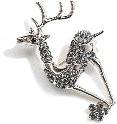 Perfektes Zuhause Europäische und amerikanische Weihnachts Elk Diamant Dreidimensionales Brosche Retro einfache Legierung Elk Tier Korsage Weihnachtstag Geschenk Kragen Pin Zubehör Silber