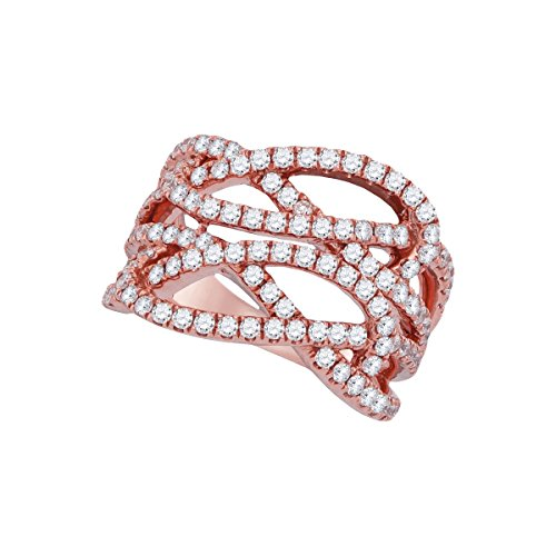 Strand Diamond Multi (Brilliant Bijou 18kt Rose Gold Womens Round Diamond Multi Strand Openwork Band Ring 1-3/8 Cttw)