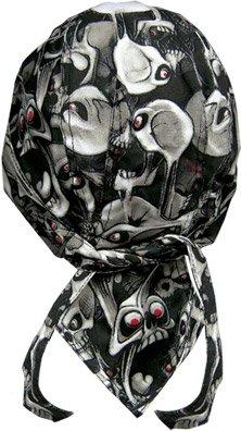 Danbanna Deluxe Black White Grey Red Evil Eye Skulls Bandana Headwrap Headscarf Adjustable Cap Hat with Terry Cloth Sweatband By Capsmith (Deluxe Cap Skull)
