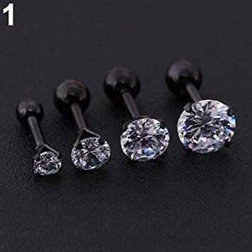 3a3e54c92 soAR9opeoF Opeof 1 PC Earrings Men Women Rhinestone Cartilage Tragus Bar  Helix Upper Ear Earring Stud