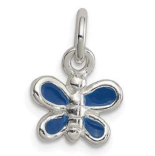 (Sterling Silver Enameled Blue Butterfly Charm (0.5in x 0.4in) Vintage Crafting Pendant Jewelry Making Supplies - DIY for Necklace Bracelet Accessories by CharmingSS)